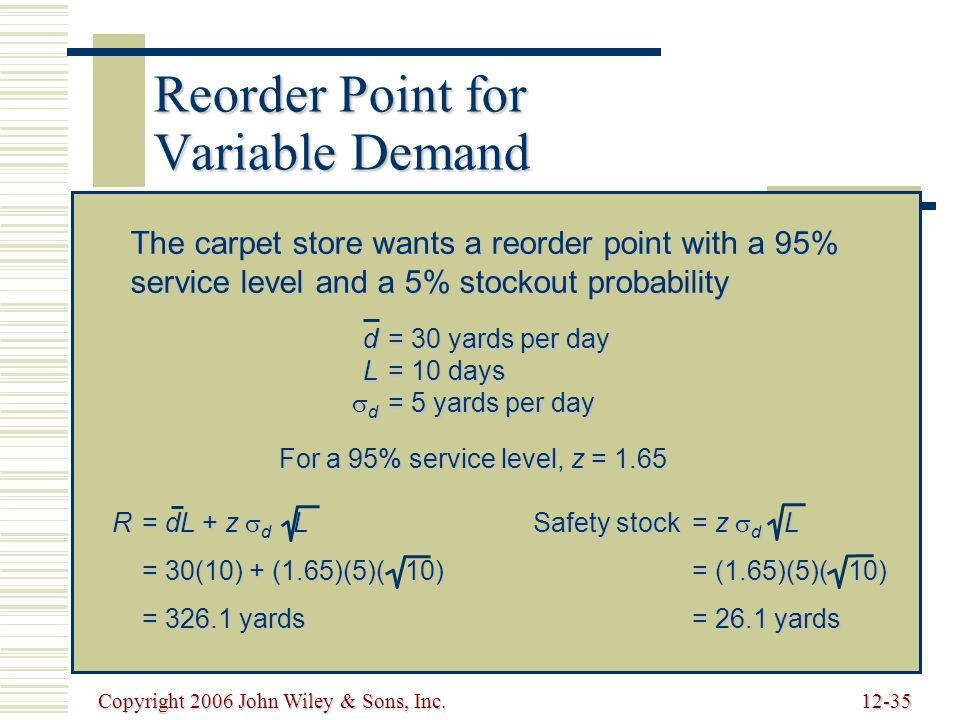 Copyright 2006 John Wiley & Sons, Inc.12-35 Reorder Point for Variable Demand The carpet store wants a reorder point with a 95% service level and a 5% stockout probability d= 30 yards per day L= 10 days  d = 5 yards per day For a 95% service level, z = 1.65 R= dL + z  d L = 30(10) + (1.65)(5)( 10) = 326.1 yards Safety stock= z  d L = (1.65)(5)( 10) = 26.1 yards