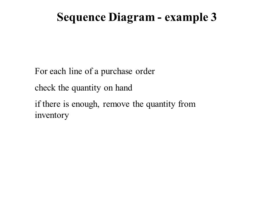 Sequence Diagram - example 3 For each line of a purchase order check the quantity on hand if there is enough, remove the quantity from inventory