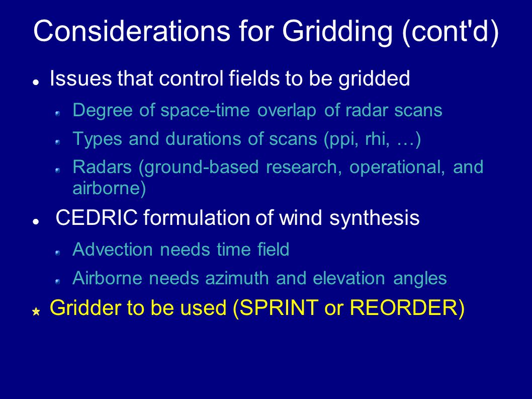 Regions Influencing Output Fields XY output grid (Big +s) RA sampling locations (Little +s) REORDER circles for Cartesian radii SPRINT RA Cells