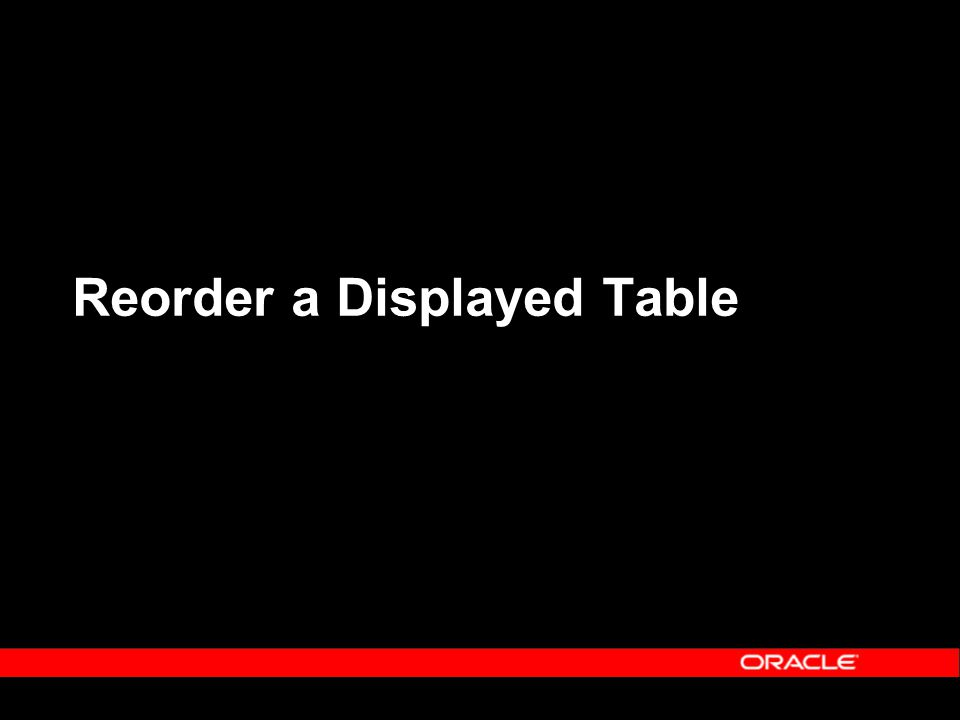 Reorder a Displayed Table