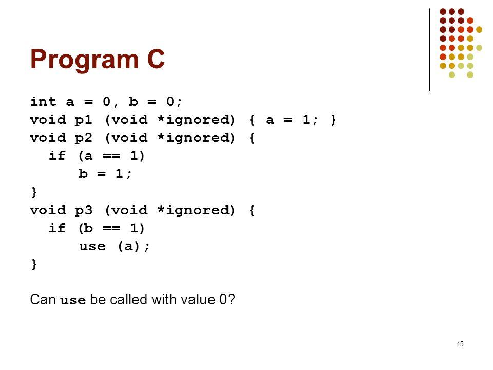 45 Program C int a = 0, b = 0; void p1 (void *ignored) { a = 1; } void p2 (void *ignored) { if (a == 1) b = 1; } void p3 (void *ignored) { if (b == 1)