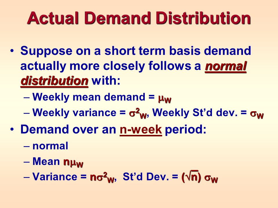 Actual Demand Distribution normal distributionSuppose on a short term basis demand actually more closely follows a normal distribution with:  W –Weekly mean demand =  W  2 W  W –Weekly variance =  2 W, Weekly St'd dev.
