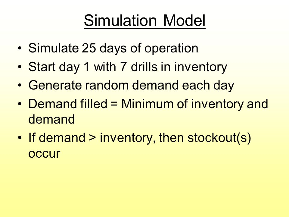 Simulation Model Track inventory level –Reduced when drills are sold –Increased when orders arrive Place an order for Q drills if the day's ending inventory < R Each time an order is placed, generate a random value for lead time Calculate all 3 types of cost and sum for total cost Go to file 10-3.xls