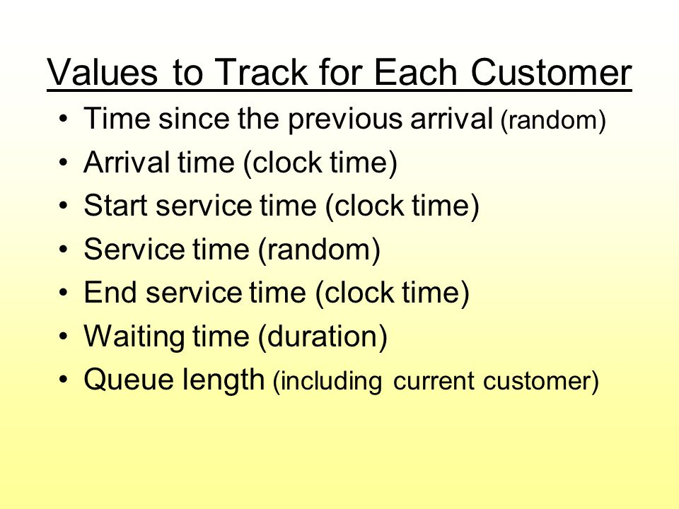 Service Time and Time Between Arrivals Distributions Go to File 10-4.xls