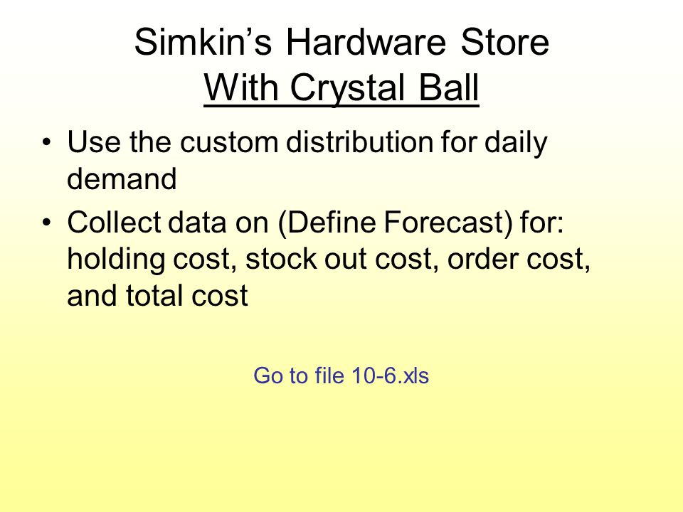 Simulation of Revenue Management With Crystal Ball Revisit Judith's Limousine service Use binomial distribution for number of no-show reservations (p=0.8) Use the custom distribution for number of walk-ups Collect data (Define Forecast) for both profit and occupancy rate Go to file 10-7.xls