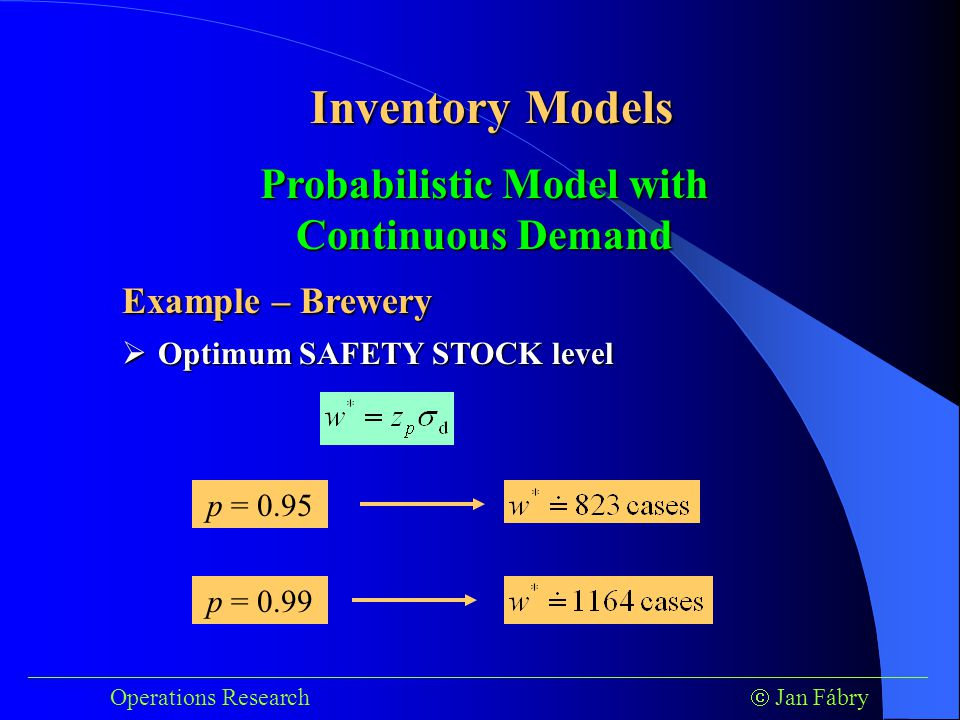 ___________________________________________________________________________ Operations Research  Jan Fábry Inventory Models Example – Brewery  Optimum SAFETY STOCK level Probabilistic Model with Continuous Demand p = 0.95 p = 0.99