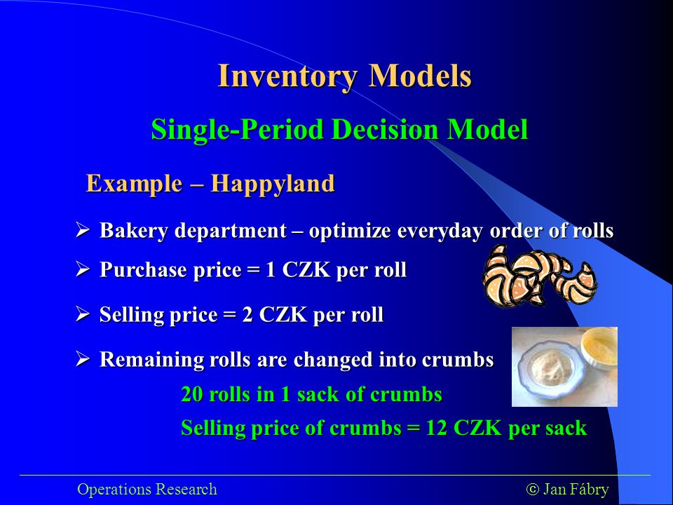 ___________________________________________________________________________ Operations Research  Jan Fábry Inventory Models Example – Happyland  Bakery department – optimize everyday order of rolls  Purchase price = 1 CZK per roll Single-Period Decision Model  Selling price = 2 CZK per roll  Remaining rolls are changed into crumbs 20 rolls in 1 sack of crumbs Selling price of crumbs = 12 CZK per sack