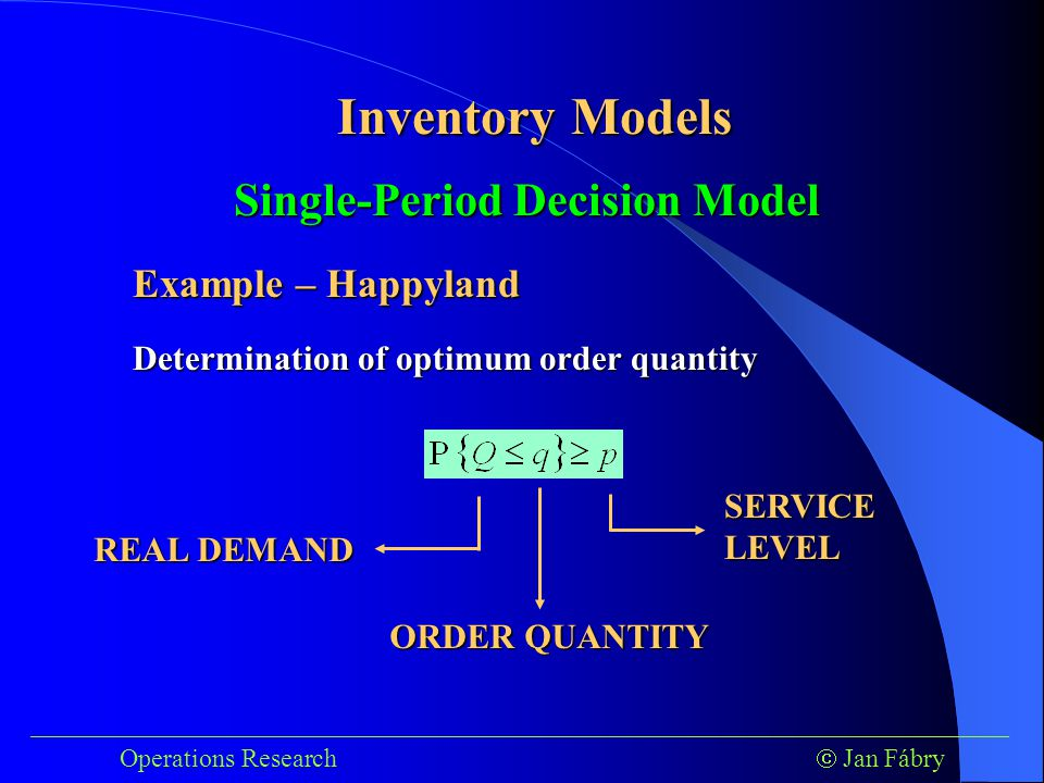 ___________________________________________________________________________ Operations Research  Jan Fábry Inventory Models SERVICE LEVEL REAL DEMAND ORDER QUANTITY Determination of optimum order quantity Single-Period Decision Model Example – Happyland