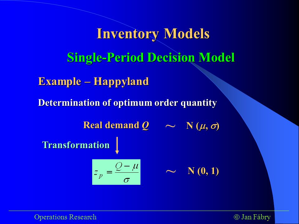 ___________________________________________________________________________ Operations Research  Jan Fábry Inventory Models Determination of optimum order quantity Real demand Q ~ N ( ,  ) ~ N (0, 1) Transformation Single-Period Decision Model Example – Happyland
