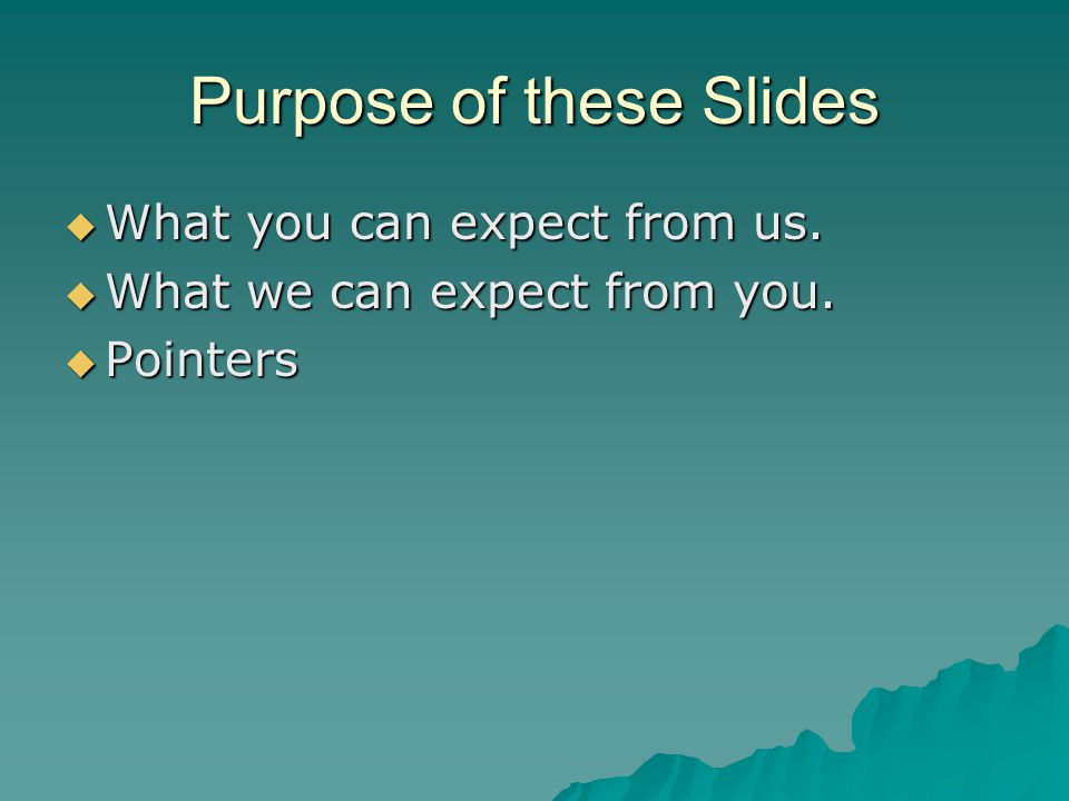 Purpose of these Slides  What you can expect from us.  What we can expect from you.  Pointers
