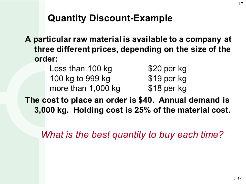 1-17 17 Quantity Discount-Example A particular raw material is available to a company at three different prices, depending on the size of the order: L