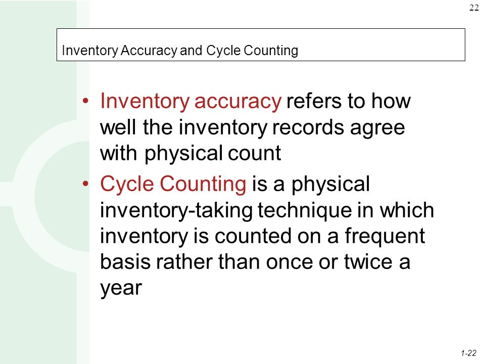 1-22 22 Inventory Accuracy and Cycle Counting Inventory accuracy refers to how well the inventory records agree with physical count Cycle Counting is