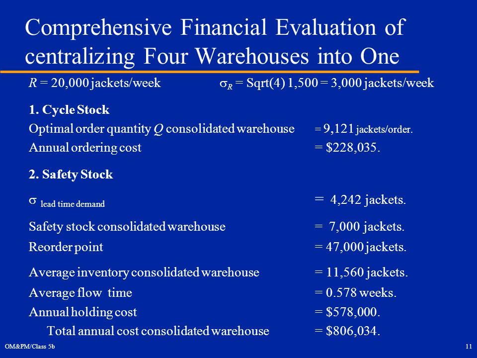 OM&PM/Class 5b11 Comprehensive Financial Evaluation of centralizing Four Warehouses into One R = 20,000 jackets/week  R = Sqrt(4) 1,500 = 3,000 jackets/week 1.