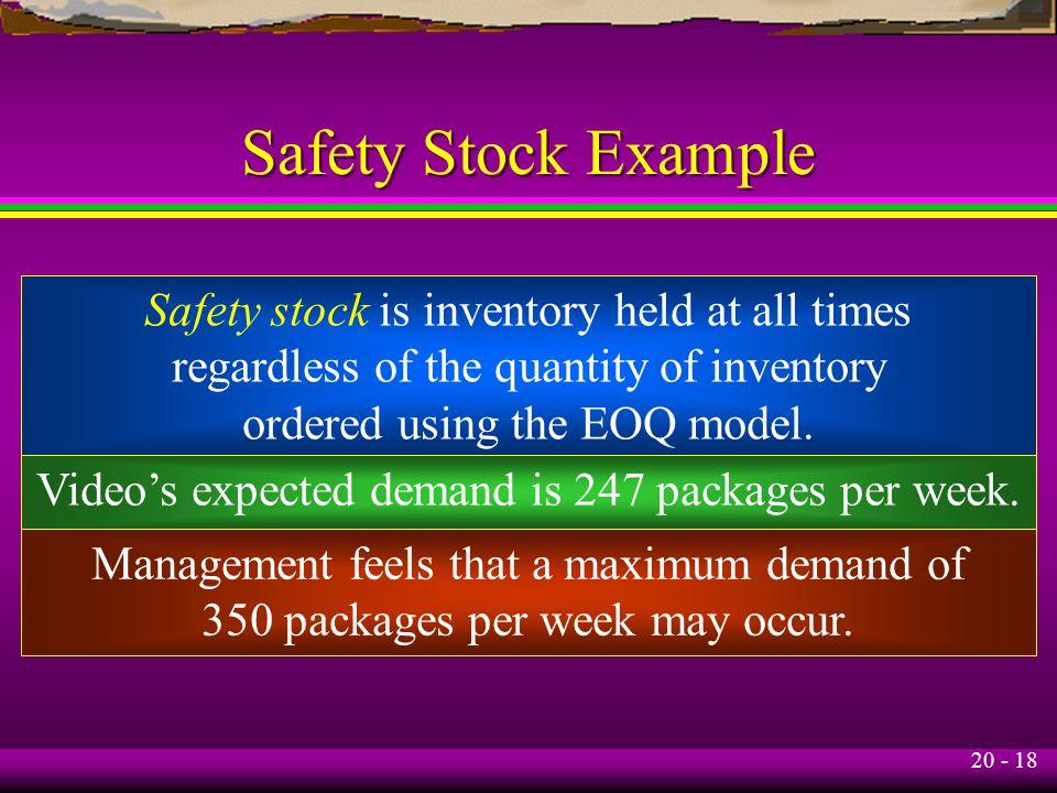 20 - 18 Safety Stock Example Safety stock is inventory held at all times regardless of the quantity of inventory ordered using the EOQ model.