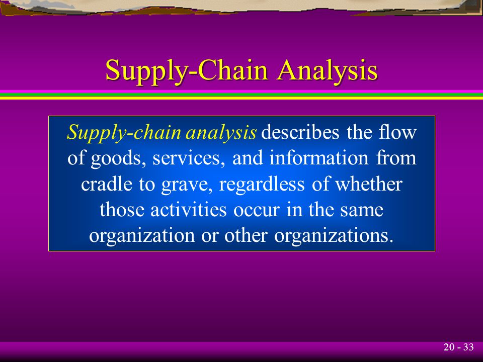 20 - 33 Supply-Chain Analysis Supply-chain analysis describes the flow of goods, services, and information from cradle to grave, regardless of whether those activities occur in the same organization or other organizations.