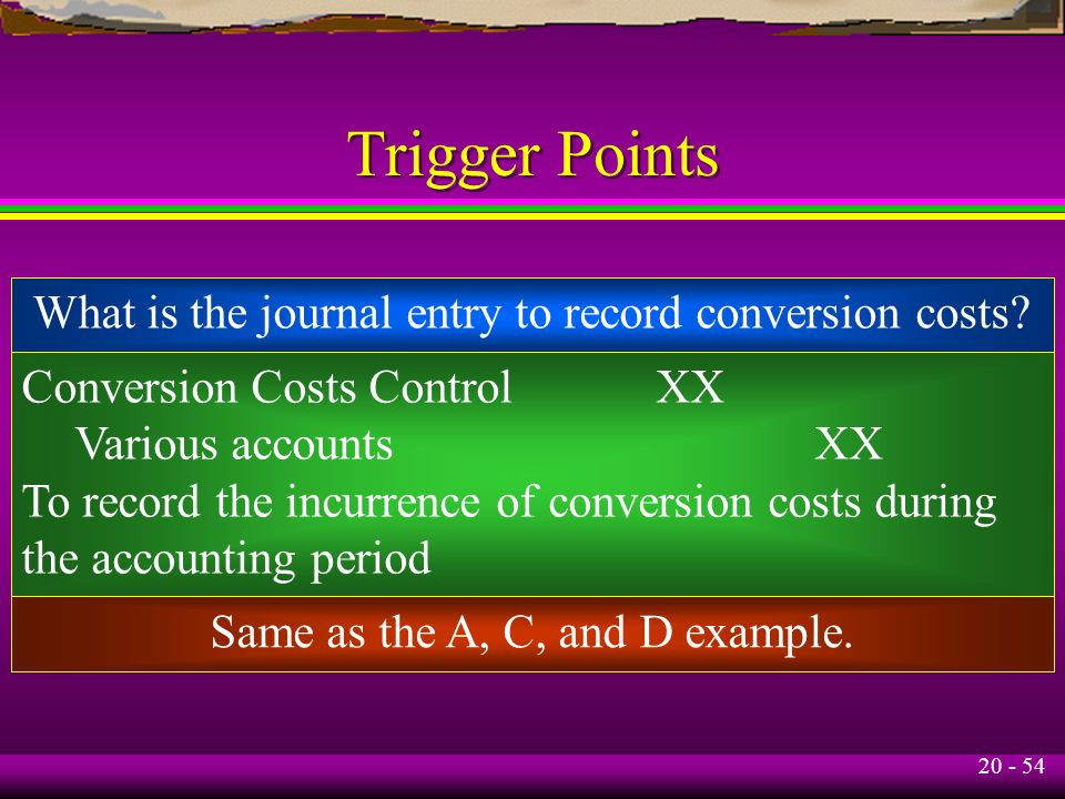 20 - 54 Trigger Points What is the journal entry to record conversion costs.