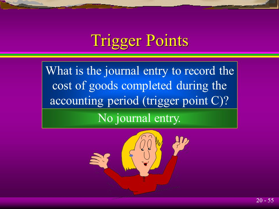20 - 55 Trigger Points What is the journal entry to record the cost of goods completed during the accounting period (trigger point C).