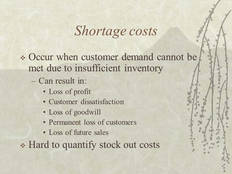 Shortage costs  Occur when customer demand cannot be met due to insufficient inventory –Can result in: Loss of profit Customer dissatisfaction Loss of goodwill Permanent loss of customers Loss of future sales  Hard to quantify stock out costs
