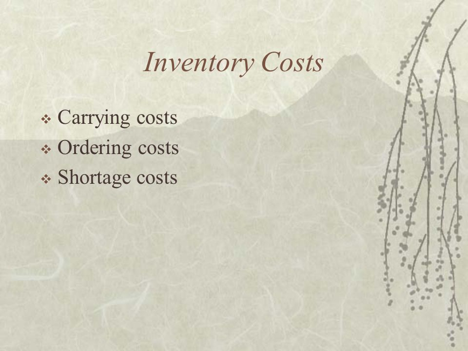 Inventory Costs  Carrying costs  Ordering costs  Shortage costs