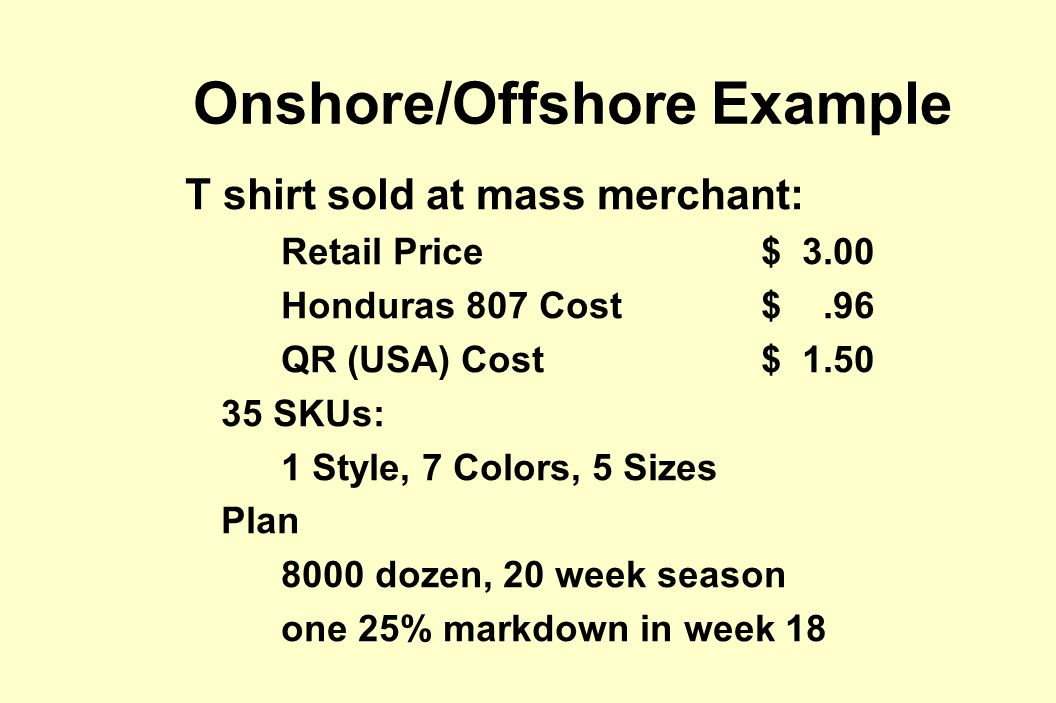 Onshore/Offshore Example T shirt sold at mass merchant: Retail Price $ 3.00 Honduras 807 Cost$.96 QR (USA) Cost$ 1.50 35 SKUs: 1 Style, 7 Colors, 5 Sizes Plan 8000 dozen, 20 week season one 25% markdown in week 18