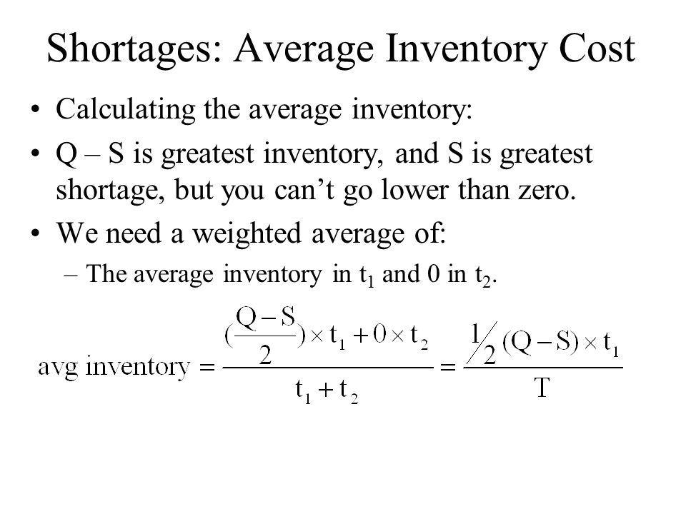 Shortages: Average Inventory Cost Calculating the average inventory: Q – S is greatest inventory, and S is greatest shortage, but you can't go lower than zero.