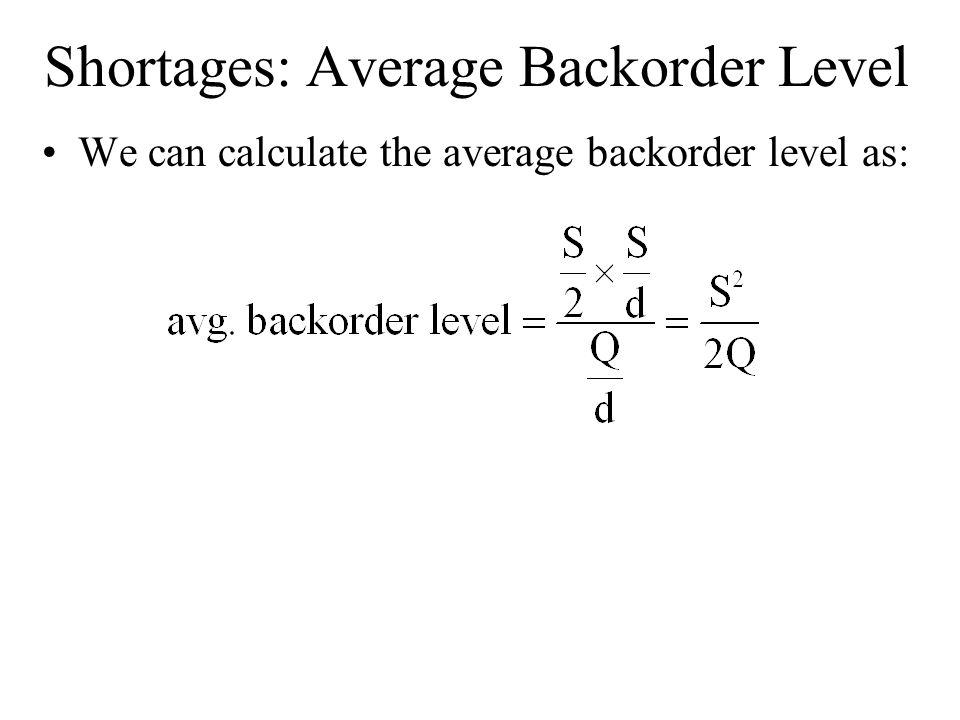 Shortages: Average Backorder Level We can calculate the average backorder level as: