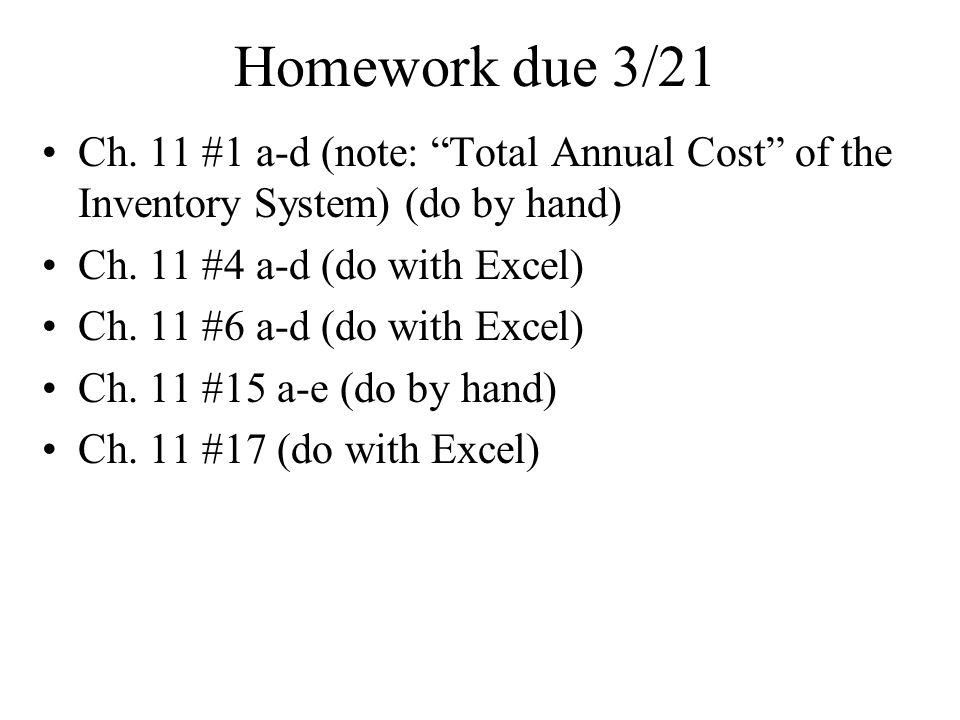 Homework due 3/21 Ch.