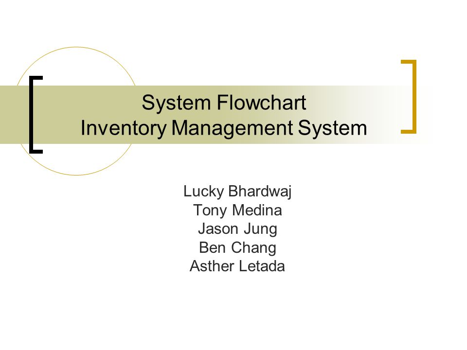System Flowchart Inventory Management System Lucky Bhardwaj Tony Medina Jason Jung Ben Chang Asther Letada