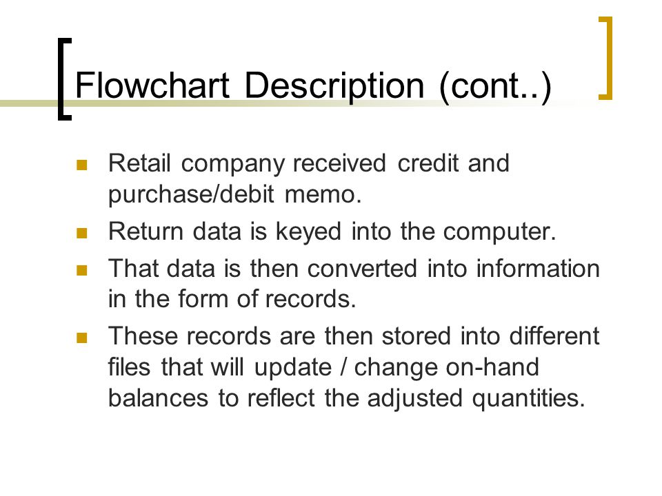 Flowchart Description (cont..) Retail company received credit and purchase/debit memo. Return data is keyed into the computer. That data is then conve