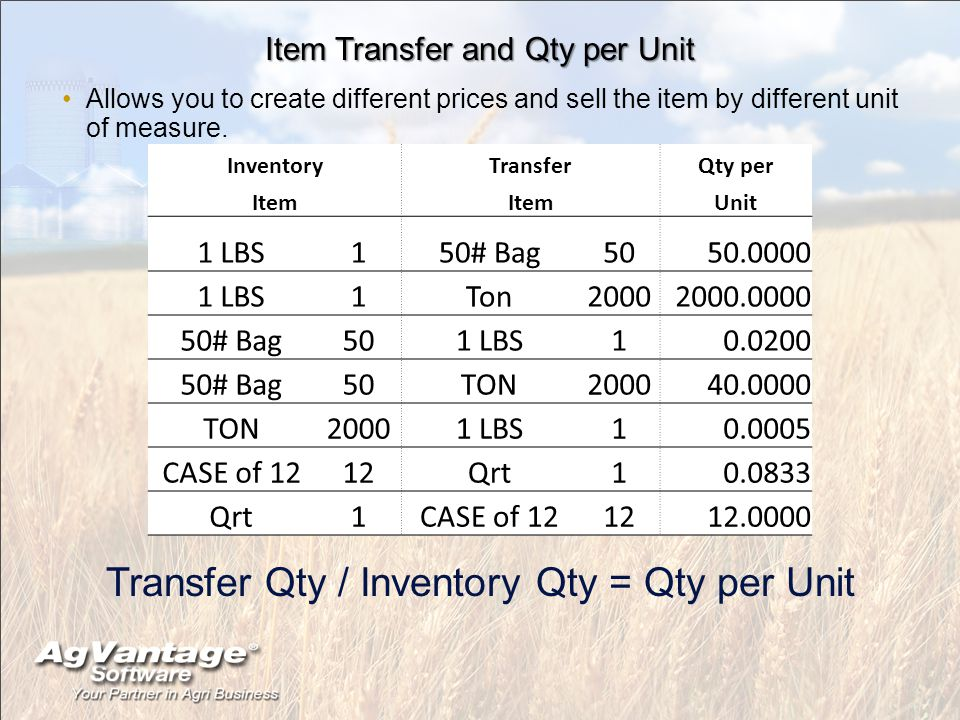 Item Transfer and Qty per Unit Allows you to create different prices and sell the item by different unit of measure.