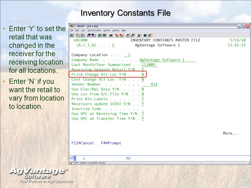 Inventory Constants File Enter 'Y' to set the retail that was changed in the receiver for the receiving location for all locations.