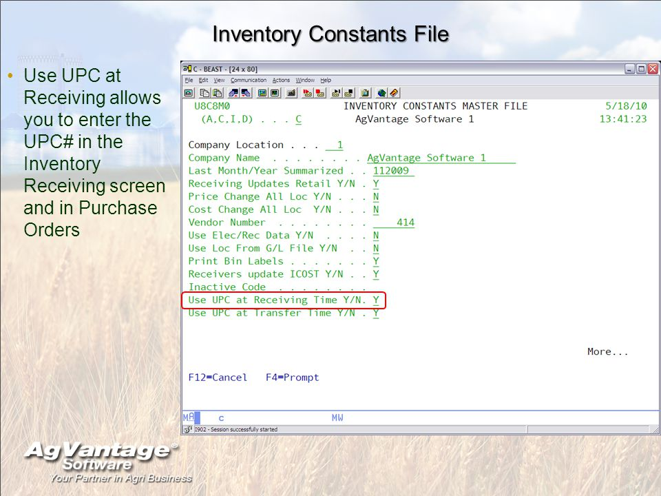 Inventory Constants File Use UPC at Receiving allows you to enter the UPC# in the Inventory Receiving screen and in Purchase Orders