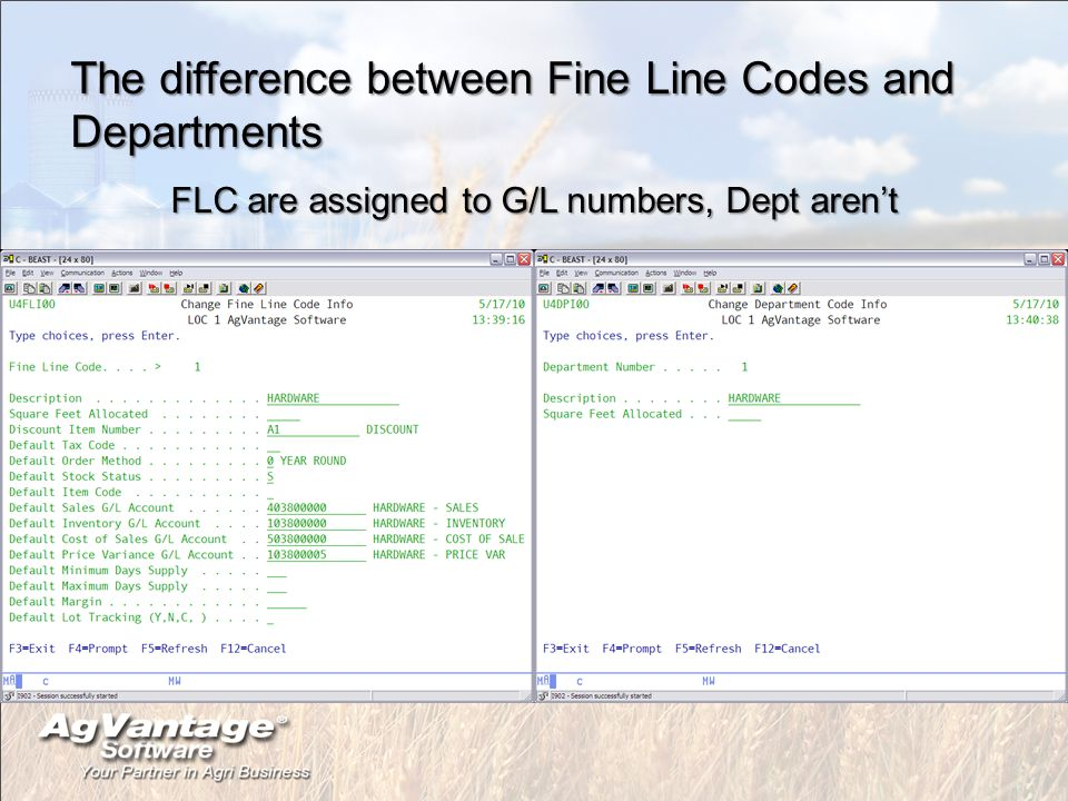 The difference between Fine Line Codes and Departments FLC are assigned to G/L numbers, Dept aren't