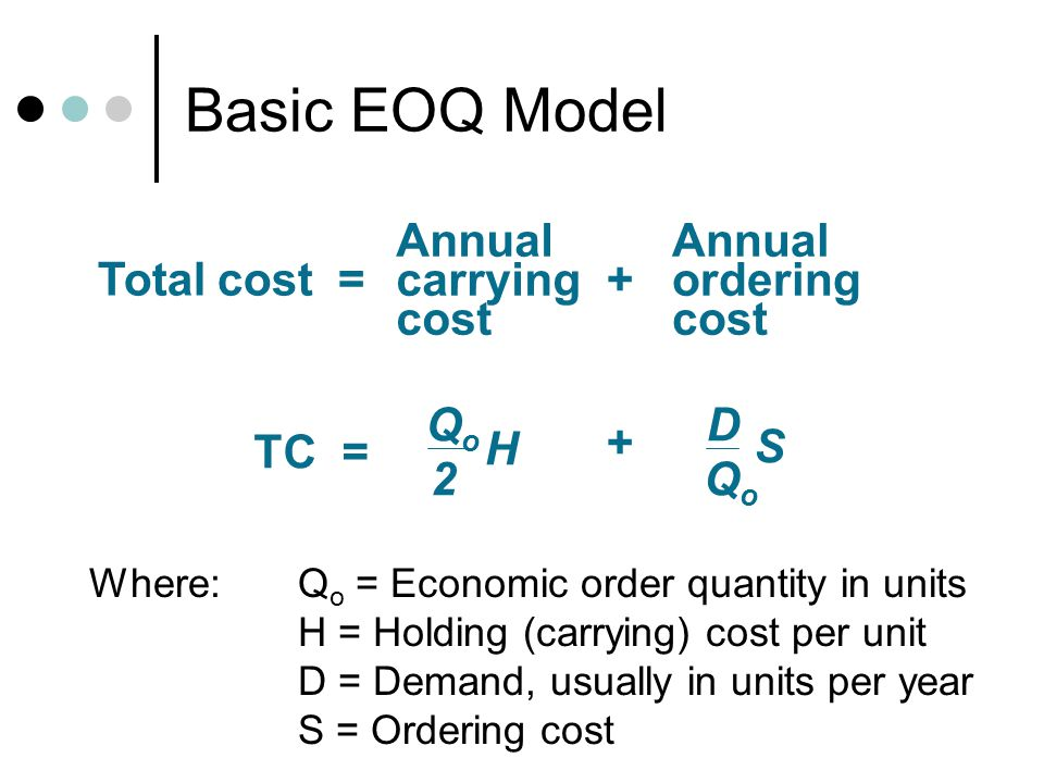 Basic EOQ Model Annual carrying cost Annual ordering cost Total cost =+ QoQo 2 H D QoQo S TC = + Where: Q o = Economic order quantity in units H = Hol