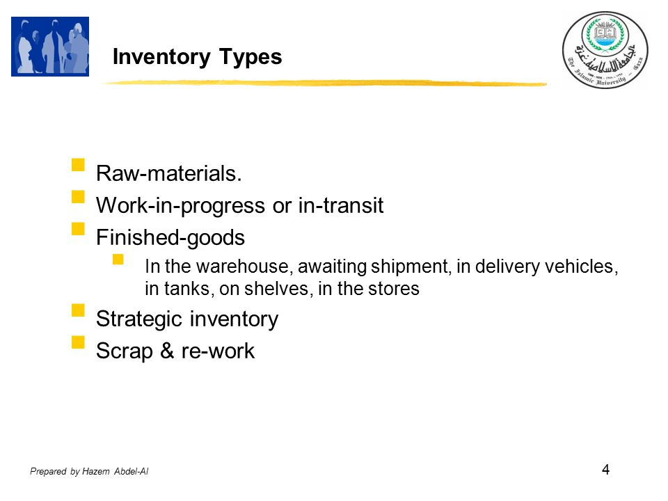 Prepared by Hazem Abdel-Al 4 Inventory Types  Raw-materials.