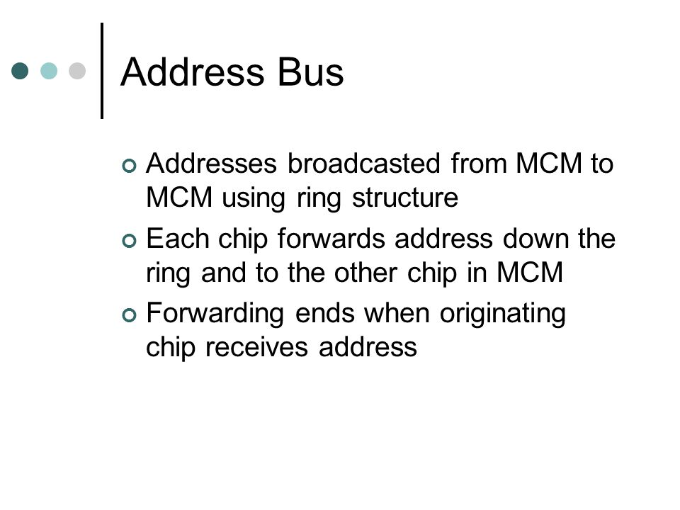 Address Bus Addresses broadcasted from MCM to MCM using ring structure Each chip forwards address down the ring and to the other chip in MCM Forwarding ends when originating chip receives address