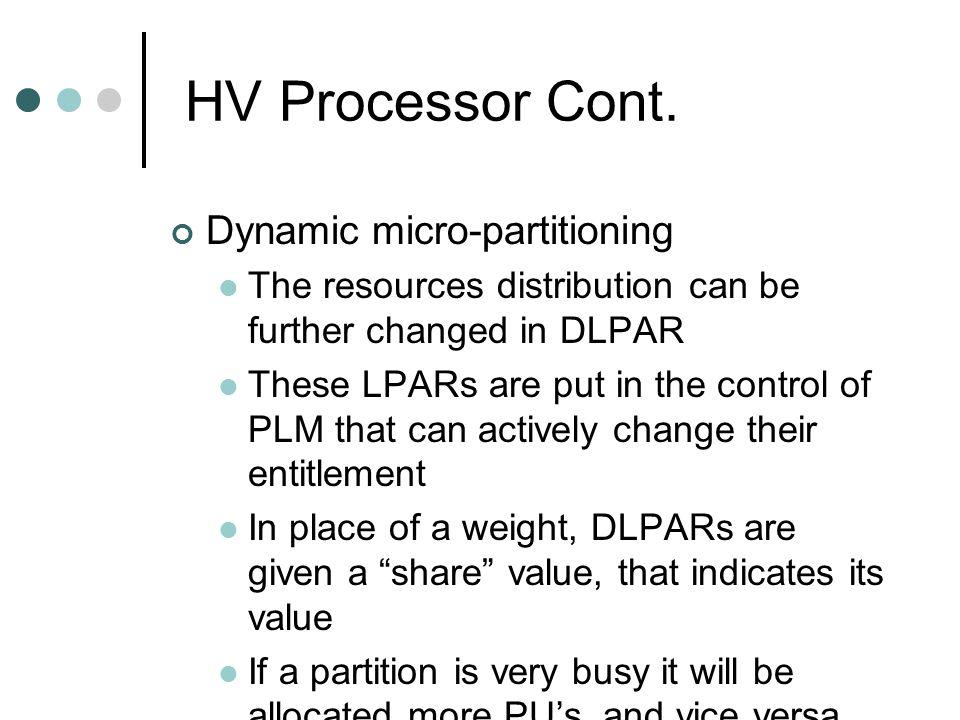 HV Processor Cont.