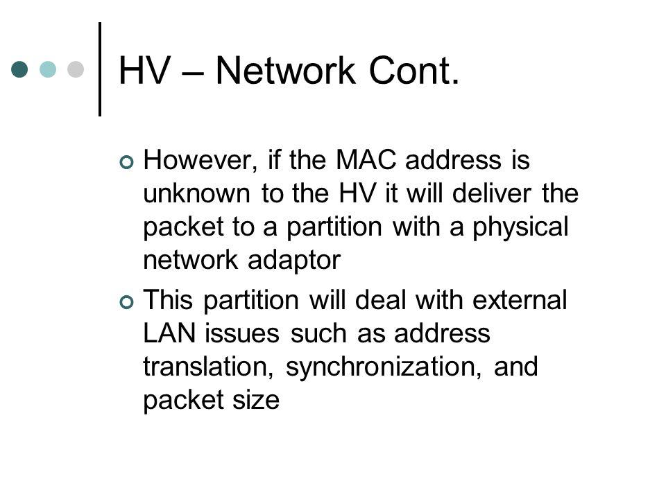 HV – Network Cont.