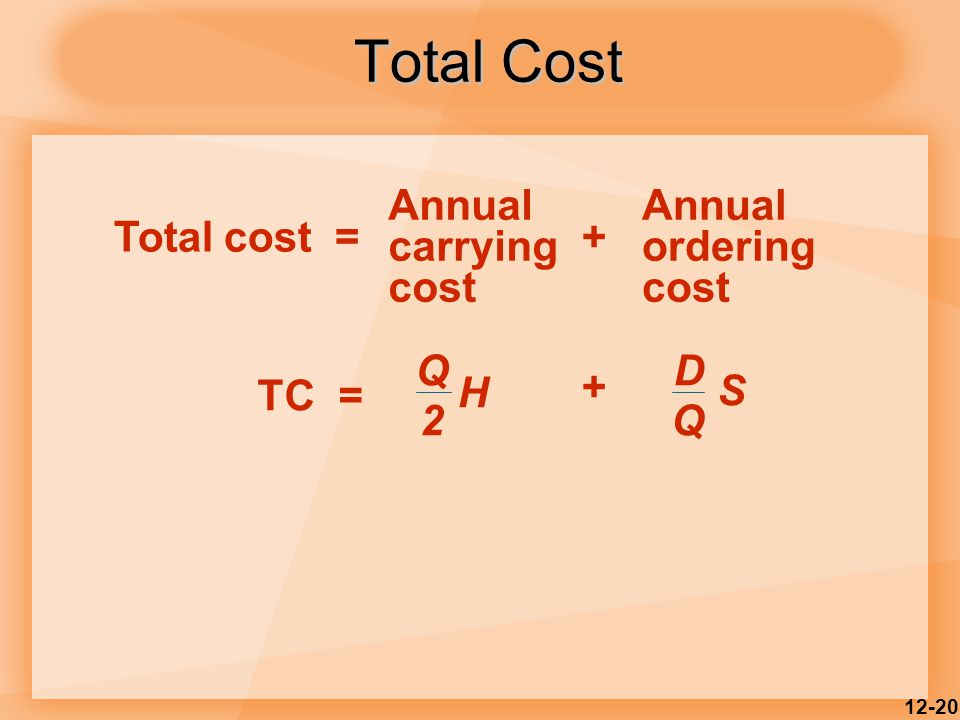 12-20 Total Cost Annual carrying cost Annual ordering cost Total cost =+ TC = Q 2 H D Q S +