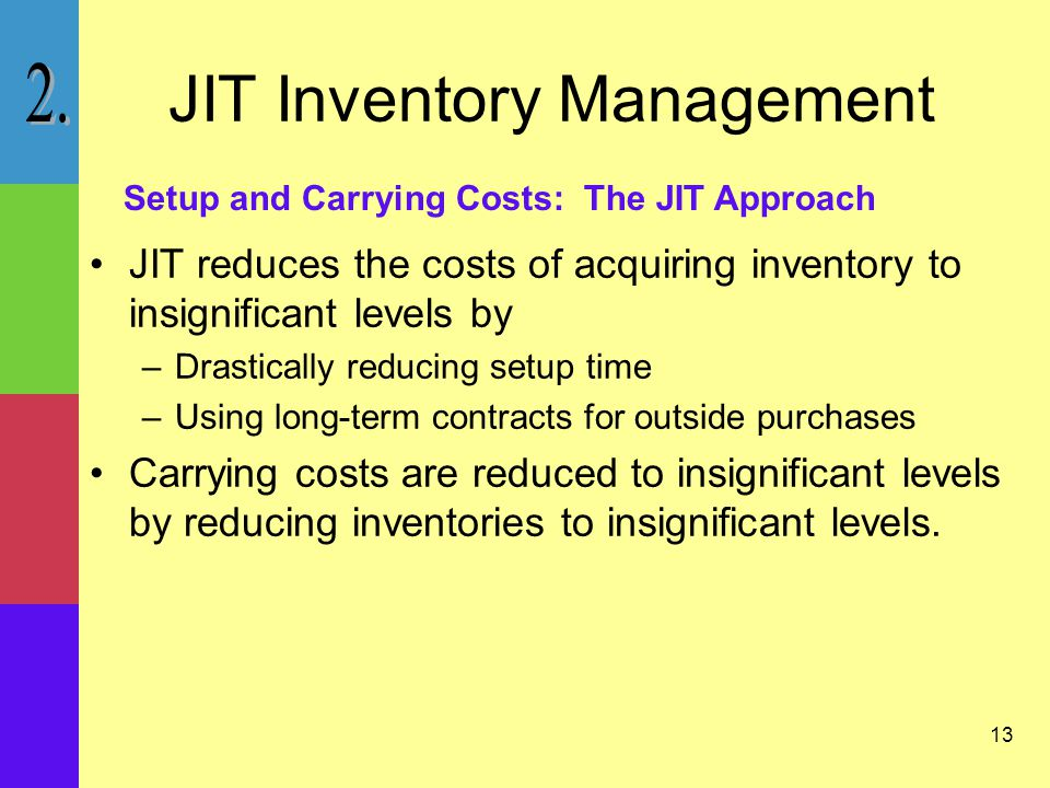 13 JIT Inventory Management JIT reduces the costs of acquiring inventory to insignificant levels by –Drastically reducing setup time –Using long-term contracts for outside purchases Carrying costs are reduced to insignificant levels by reducing inventories to insignificant levels.