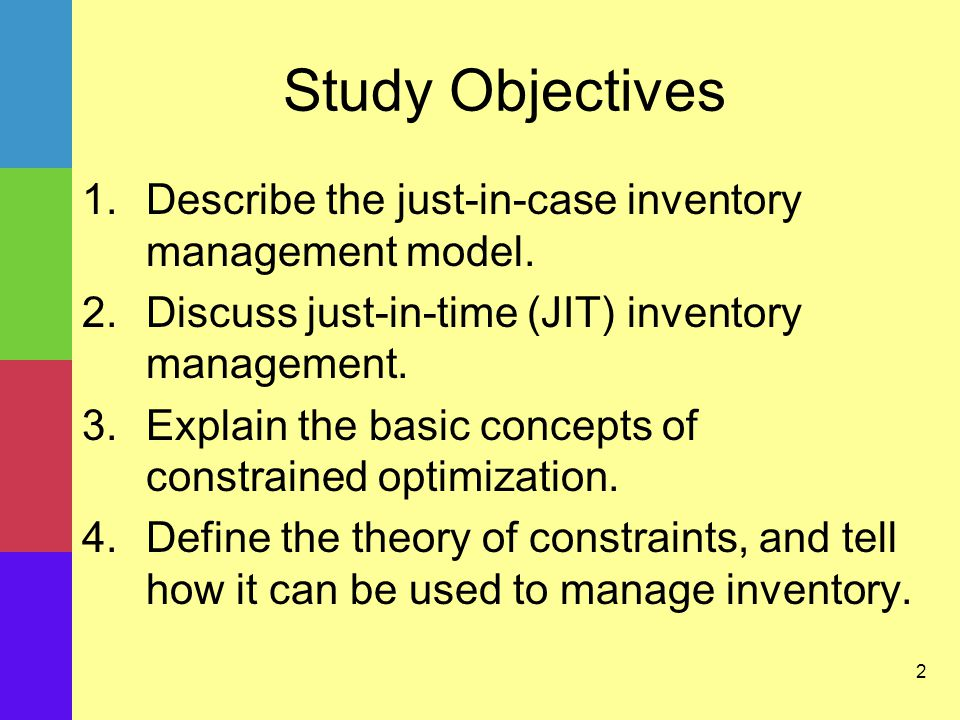 2 Study Objectives 1.Describe the just-in-case inventory management model.