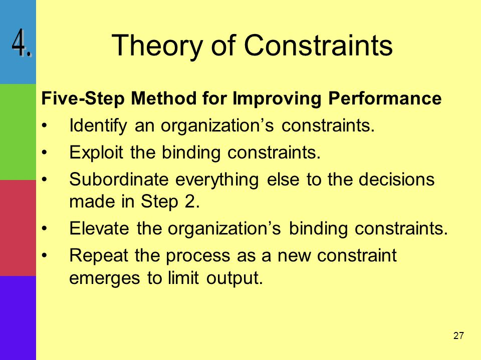 27 Theory of Constraints Five-Step Method for Improving Performance Identify an organization's constraints.