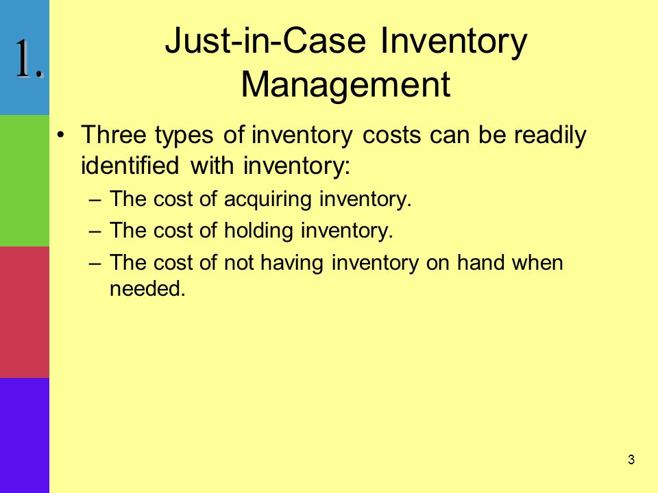 3 Just-in-Case Inventory Management Three types of inventory costs can be readily identified with inventory: –The cost of acquiring inventory.