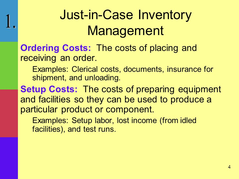 4 Just-in-Case Inventory Management Ordering Costs: The costs of placing and receiving an order.