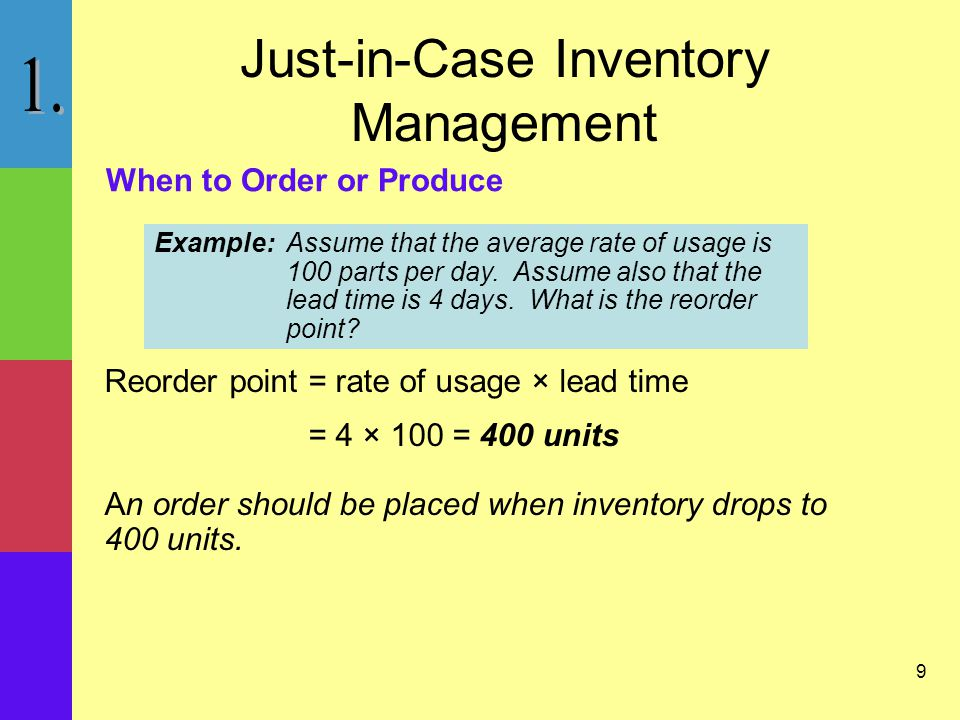 9 Just-in-Case Inventory Management Reorder point= rate of usage × lead time = 4 × 100 = 400 units An order should be placed when inventory drops to 400 units.