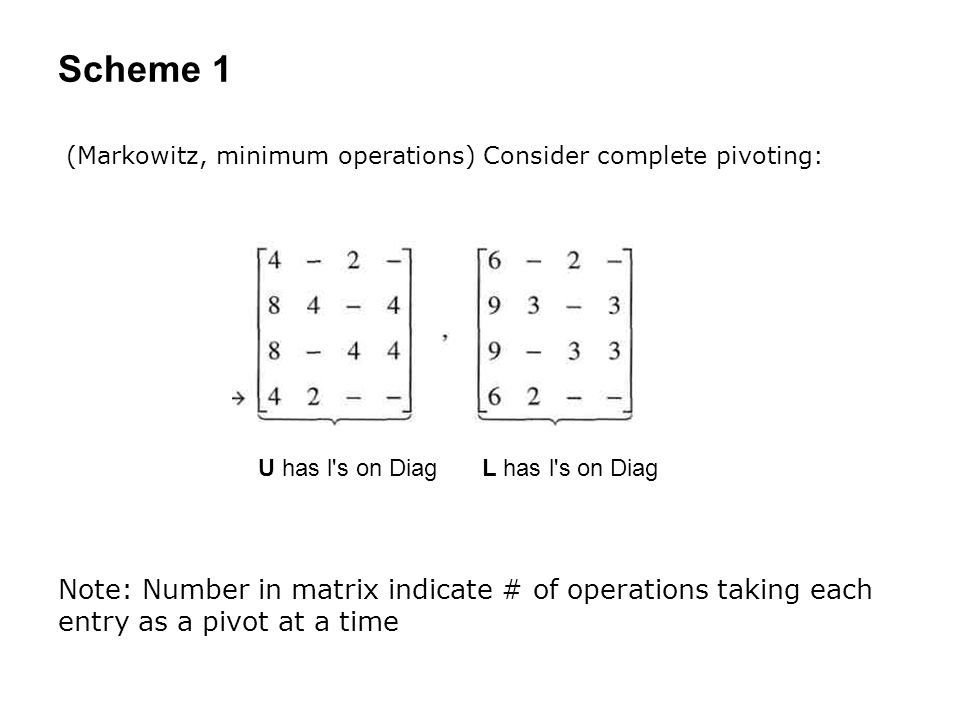Scheme 1 (Markowitz, minimum operations) Consider complete pivoting: Note: Number in matrix indicate # of operations taking each entry as a pivot at a time U has l s on DiagL has l s on Diag