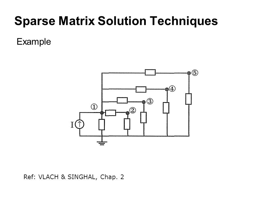 Sparse Matrix Solution Techniques Example Ref: VLACH & SINGHAL, Chap. 2