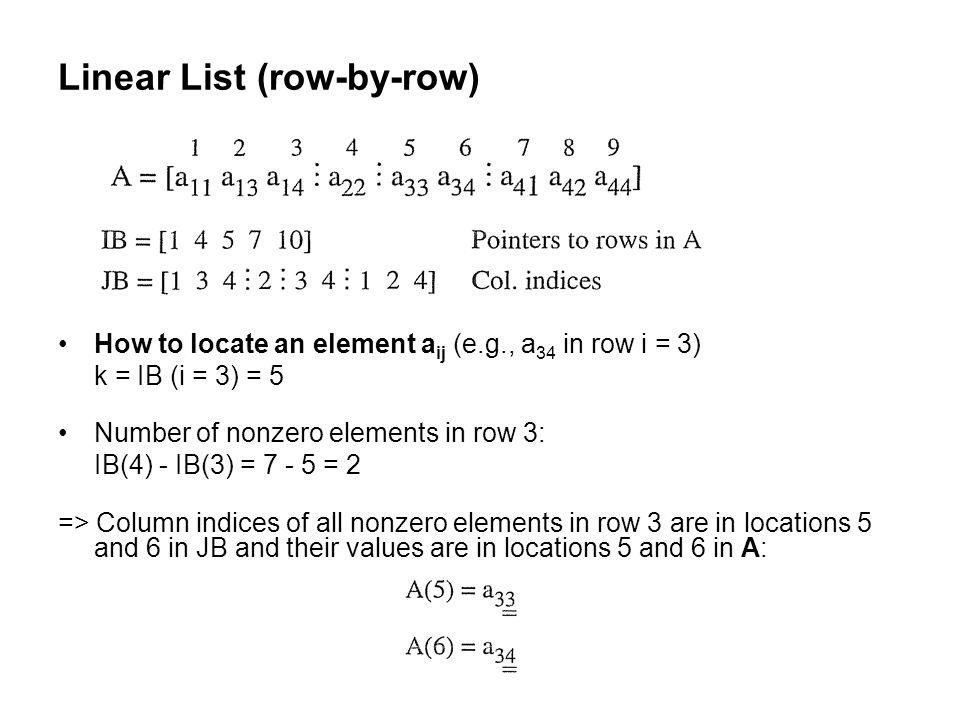 Linear List (row-by-row) How to locate an element a ij (e.g., a 34 in row i = 3) k = IB (i = 3) = 5 Number of nonzero elements in row 3: IB(4) - IB(3) = 7 - 5 = 2 => Column indices of all nonzero elements in row 3 are in locations 5 and 6 in JB and their values are in locations 5 and 6 in A: