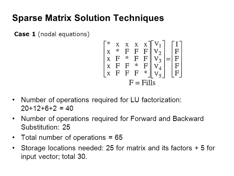 Sparse Matrix Solution Techniques Number of operations required for LU factorization: 20+12+6+2 = 40 Number of operations required for Forward and Backward Substitution: 25 Total number of operations = 65 Storage locations needed: 25 for matrix and its factors + 5 for input vector; total 30.
