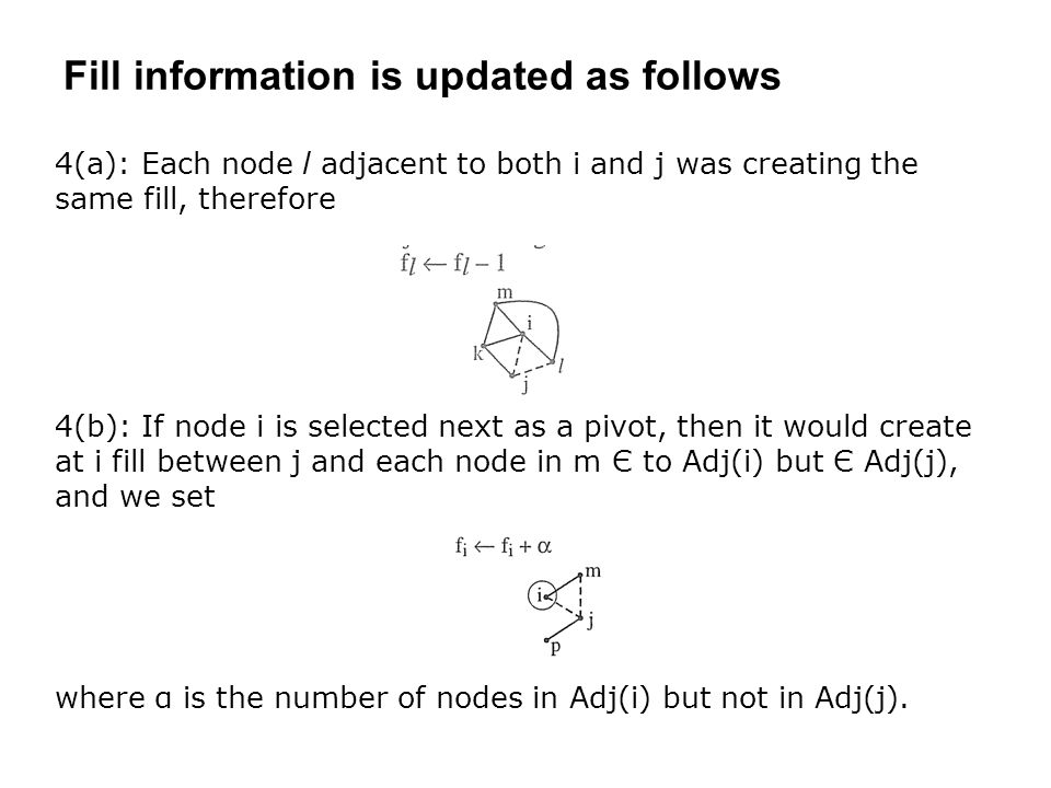 Fill information is updated as follows 4(a): Each node l adjacent to both i and j was creating the same fill, therefore 4(b): If node i is selected next as a pivot, then it would create at i fill between j and each node in m Є to Adj(i) but Є Adj(j), and we set where α is the number of nodes in Adj(i) but not in Adj(j).